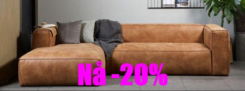 bean sofa skinn cocnac farge tilbud