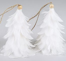 hvit fjærtre juletre fjær julepynt alot