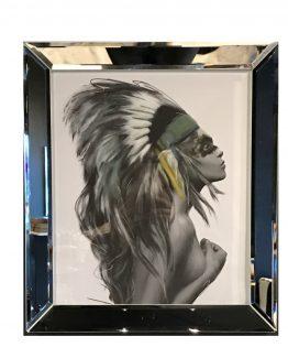 Speilramme m/bilde, Indian lady