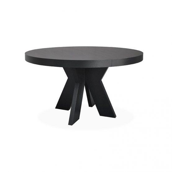 Spisebord Valencia, rundt spisebord med klaff, svart heltre eik spisebord, spisebord, svart spisebord, Home Factory