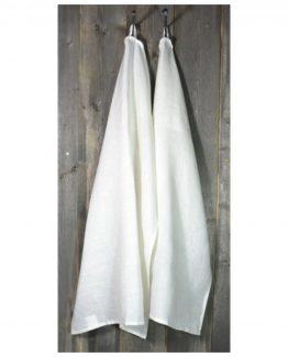 kjøkkenhåndkle, 100% stenvasket lin, hvit, herregård