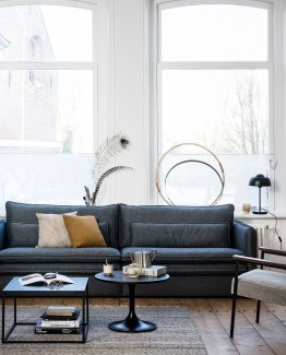 Matthijs sofa, grå sofa, De Ekhoorn, , Woood, Sofa med dobbel pute, stoffsofa