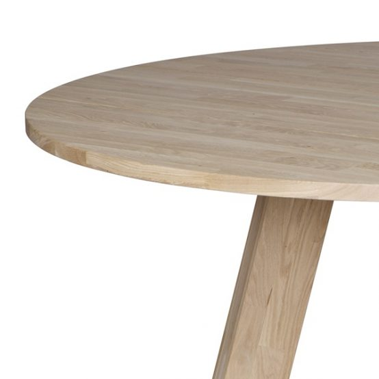 Rhonda spisebord, spisebord i heltre eik, eikebord, rundt bord, rundt spisebord, WOOOD, De Ekhoorn