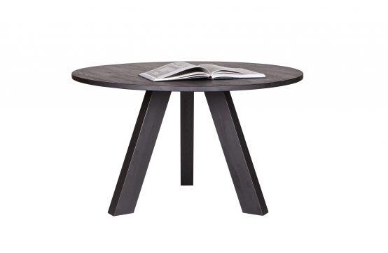 Rhonda spisebord 129cm, svartbeiset spisebord, heltre eik, rundt spisebord, nordisk spisebord, vann og varmebestandig spisebord, eikebord WOOOD, De Eekhoorn