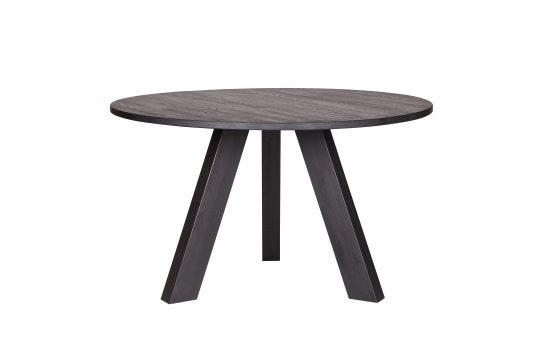 Rundt spisebord Rhonda spisebord 129cm, svartbeiset spisebord, heltre eik, rundt spisebord, nordisk spisebord, vann og varmebestandig spisebord, eikebord WOOOD, De Eekhoorn