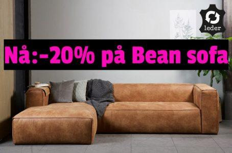 Bean skinnsofa med sjeselong, 20% avslag i januarsalget