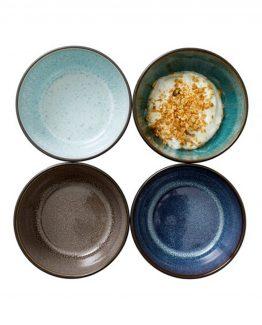 Bitz sett med 4 skåler ass farge, keramikk