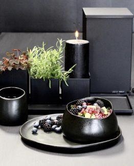 Keramikk tallerken, sort matt