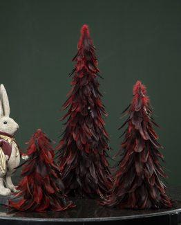 rødt fjærtre juletre fjær julepynt alot