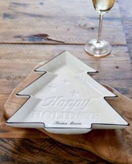 happy hollidays christmas tree plate, riviera maison, jul