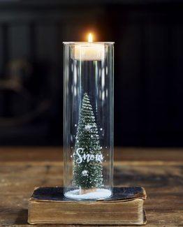 RM, jul, votive, Riviera Maison, telysestake, lysestake med juletre, refillable votive, lysestake med snø og tre inni,