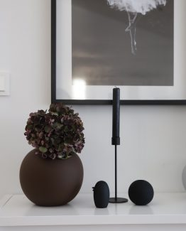 cooee design, keramikk fugl, bird, black, plum ball vase