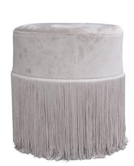 franziis puff velour lys grå med frynser