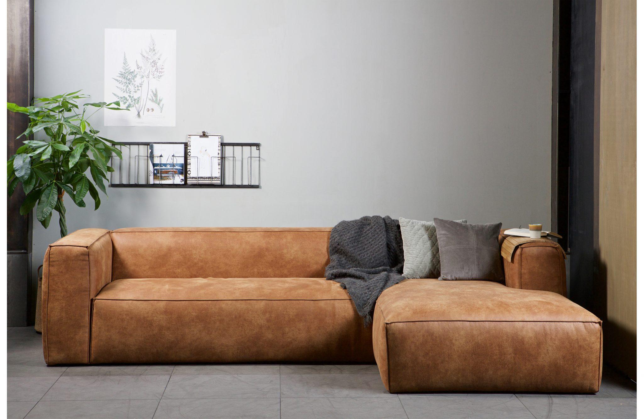 R 229 T 248 Ff Bean Sofa I Fargen Cognac Skinn Nordisk Stil