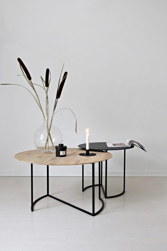 Ljå sofabord, rundt sofabord, metallbord, ygg&lyng, norsk design, nordisk stil, Ljå 80cm oljet natur eik, ljå 50 sort metall
