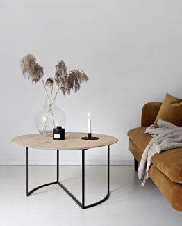 Ljå sofabord, rundt sofabord, metallbord, ygg&lyng, norsk design, nordisk stil, Ljå 80cm, sofabord hvitoljet