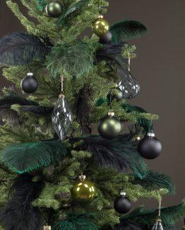 glasskule sort juletrekule julepynt, strutsfjær