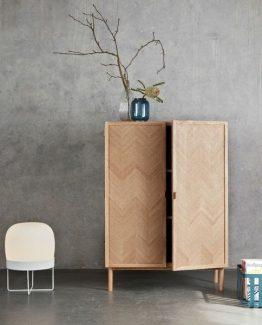 Hübsch Cabinet, oak, herringbone, nature skap hubsch