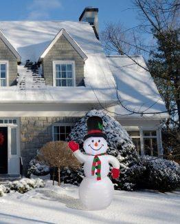 Oppblåsbar snømann julelys jul utendørs