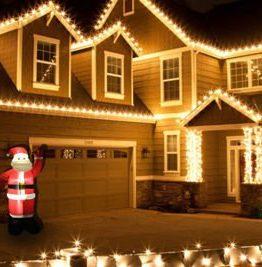 Oppblåsbar nisse med led lys utendørsbelysning julelys